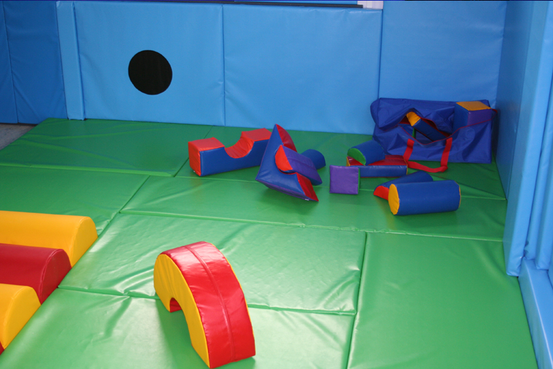 soft play room with building block