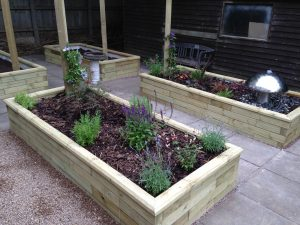 Dementia Friendly Garden with Raised Planters